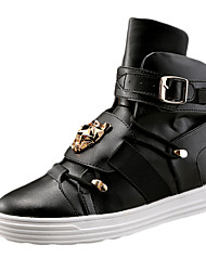 Men's Sneakers Fall Comfort PU Casual Flat Heel Studded Black Red White