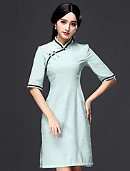 Gaine Robe Femme Sortie Chinoiserie,Tartan Mao Au dessus du genou Au dessus du genou, Mini Demi Manches Coton Automne Taille Normale