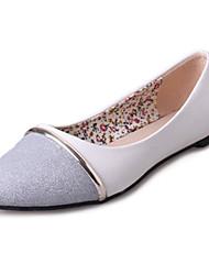 Feminino-Rasos-Conforto Bailarina-Rasteiro-Branco Metalico Prateado-Couro Ecológico-Casual