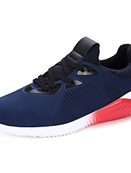 Men's Athletic Shoes Spring Fall Comfort PU Casual Flat Heel Lace-up White/Blue Red/White Black and White Walking