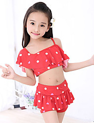 Girl Dot Polka Dot Swimwear,Spandex