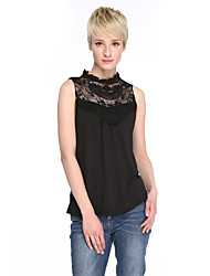 Women's Casual/Daily Vintage Summer Blouse,Patchwork Crew Neck Sleeveless White / Black Polyester Thin