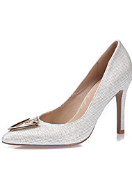 Women's Heels Spring Summer Fall Winter Glitter Leatherette Wedding Party & Evening Dress Stiletto Heel Rhinestone Gold White Black Silver