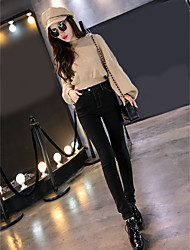 Women's Slim Jeans Pants,Casual/Daily Street chic Solid Mid Rise Zipper Cotton Micro-elastic Spring