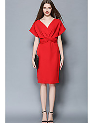 Women's Casual/Daily Simple A Line Dress,Solid V Neck Knee-length Short Sleeve Blue Red Polyester Fall Mid Rise Micro-elastic Medium