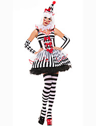 Cosplay Costumes Party Costume Masquerade Burlesque/Clown Movie Cosplay Black Striped Dress Sleeves Hat Female Polyester