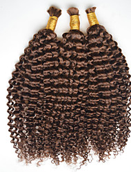 Cheap Brazilian Kinky Curly Hair bulk 100g/bundle #4 light brown Hair bulk for braiding 300g per lot