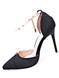 Damen-High Heels-Lässig-PU-Stöckelabsatz-Komfort-Schwarz Gold Silber