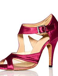 Women's Sandals Summer Other Satin Tulle Dress Stiletto Heel Buckle Split Joint Black Burgundy Fitness & Cross Training