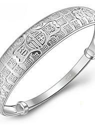 Pulseiras Bracelete Prata de Lei Formato de Letras Natureza Aniversário Jóias Dom Prateado,1peça