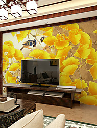 JAMMORY Art DecoWallpaper For Home Wall Covering Canvas Adhesive required Mural Yellow Flowers and Birds XL XXL XXXL