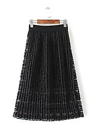 Damen Röcke,A-Linie einfarbig Spitze,Ausgehen Lässig/Alltäglich Einfach Street Schick Mittlere Hüfthöhe Midi ReisverschlussAcryl Nylon
