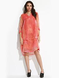 Gaine Robe Femme Grandes Tailles Sophistiqué,Couleur Pleine Col en V Au dessus du genou Manches ¾ Orange Soie Automne Taille NormaleNon