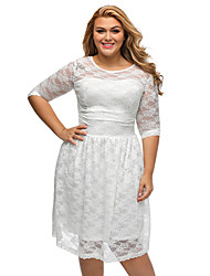 Women's Lace Three Quarters Sleeves Lace Wedding Plus Dress