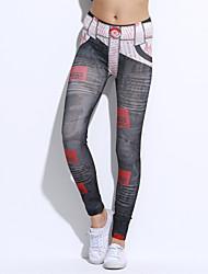 Femme A Motifs Legging,Nylon Spandex Fin