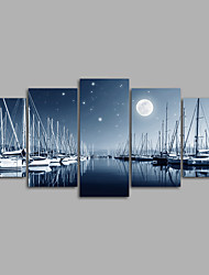 Canvas Set Unframed Canvas Print ModernFive Panels Canvas Print Moon Sailboat Wall Decor For Home Decoration