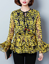 Women's Going out Sophisticated Spring Blouse,Print Round Neck Long Sleeve Red Yellow Polyester Medium