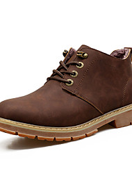 Men's Boots Spring Fall Comfort PU Outdoor Office & Career Casual Low Heel Coffee Light Brown Walking