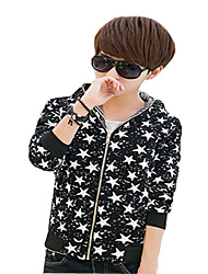 Men's Casual/Daily Simple Jackets,Galaxy Long Sleeve Spring Black / Multi-color Cotton