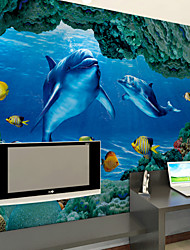 JAMMORY Bedroom Living Room Sofa Television Background Wall Blue Dolphin Background Large Murals XL XXL XXXL