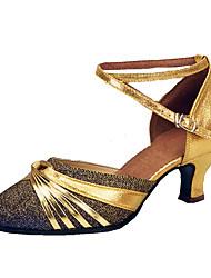 Damen-High Heels-Kleid-Kunstleder-Kitten Heel-Absatz-Andere Knöchelriemen-Blau Silber Gold