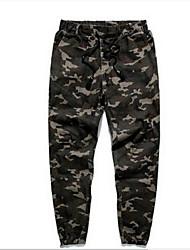 Masculino Tamanhos Grandes Delgado Chinos Calças-Camuflagem Casual Simples Com Fenda Cintura Média Elasticidade Algodão Micro-Elástico