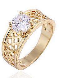 Anéis Diário Casual Jóias Liga Zircão Feminino Anel 1peça,7 8 Ouro Rose