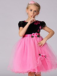 Han Edition Bowknot Organza Flowers Short-sleeved Dress Of The Girls