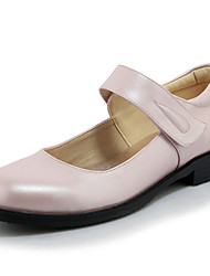 Women's Flats Spring Summer Fall Winter Mary Jane Leatherette Outdoor Dress Casual Low Heel Magic Tape Black Pink White