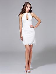 LAN TING BRIDE Sheath / Column Wedding Dress - Chic & Modern Little White Dress Short / Mini Jewel Lace with Beading