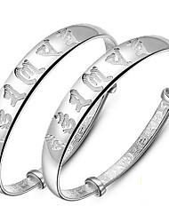 Bracelet Bangles S999 Sterling Silver Alphabet Shape Fashion Birthday Gift Jewelry Gift Silver1 pair