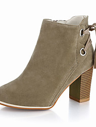 Women's Boots Spring Fall Other Comfort Suede Outdoor Office & Career Casual Chunky Heel Others Lace-up Black Ivory Walking