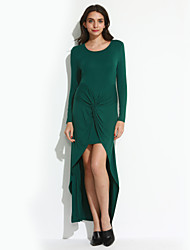 Women's Casual/Daily Simple Bodycon Dress,Solid Round Neck Asymmetrical Long Sleeve Green Polyester Fall