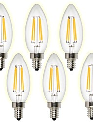 Good quality C35 4W E14 LED Filament Bulbs 4 COB 400 lm Warm White/ Cool White AC 220-240 V 6 pcs