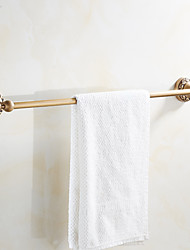 Wall Mounted Antique Brass Single Towel Bars Art Carved Style Bathroom Towel Hanger Bathroom Accessories