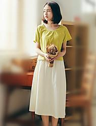 Damen Solide Retro Niedlich Ausgehen Urlaub Set Rock Anzüge,Rundhalsausschnitt Sommer Kurzarm Rot Weiß Beige Gelb Baumwolle Leinen Dünn