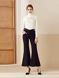Femme Boot Cut Chino Pantalon,simple Décontracté / Quotidien Couleur Pleine Taille Haute Bouton Nylon Micro-élastique Sangle Eté