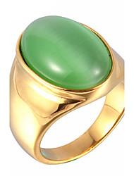 Maxi anel Anel Opala Aço Titânio Opala Moda Branco Marron Vermelho Verde Azul Jóias Diário Casual 1peça