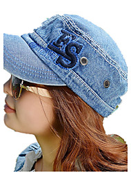 Spring And Summer Hat Printed ES Letter Embroidered Word Washed Cowboy Flat Top Hat Shade Cap