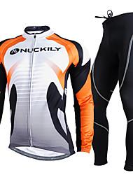 NUCKILY® Calça com Camisa para Ciclismo Homens Manga Comprida MotoRespirável Térmico/Quente Resistente Raios Ultravioleta Tiras