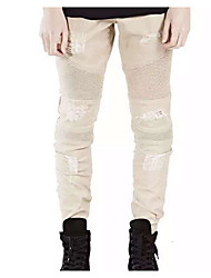 Men's Loose Jeans Pants,Casual/Daily Active Solid Mid Rise Zipper Cotton Micro-elastic All Seasons