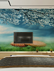 JAMMORY Art DecoWallpaper For Home Wall Covering Canvas Adhesive required Mural Blue Background With White Flowers XL XXL XXXL