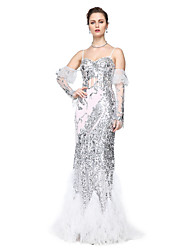 TS Couture Formal Evening Dress - Sparkle & Shine Celebrity Style Sheath / Column Spaghetti Straps Floor-length Tulle Sequined with