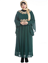 SWEET CURVE Women's Plus Size Vintage Chiffon Dress,Embroidered Round Neck Maxi Long Sleeve Black Green Cotton Spring Mid Rise Micro-elastic Medium