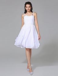 Lanting Bride® A-Linie Hochzeitskleid - Schick & Modern Schlichte Brautkleider Knie-Länge Spaghetti-Träger Chiffon mitPerlstickerei