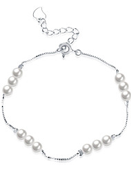Women's Chain Bracelet Pearl Sterling Silver Fashion Sliver Jewelry 1pc