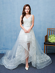 Ball Gown Wedding Dress See-Through Asymmetrical V-neck Lace Satin Tulle with Lace