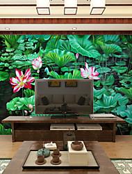 JAMMORY Art DecoWallpaper For Home Wall Covering Canvas Adhesive required Mural Cartoon Full Pond Lotus XL XXL XXXL