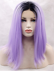 Heat Resistant Synthetic Lace Front Wig Long Straight Hair Black Root Purple Color Synthetic Hair Fiber Wig With Adjustable Strap