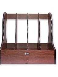 bois rack fichier de stockage de bureau en rack de stockage de fichiers à quatre barres avec tiroir